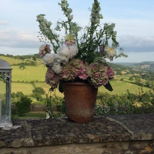 A candle and flower pot on a stone wall overlooking a landscape