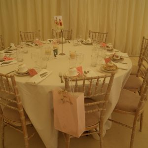 A wedding reception table ready for guests